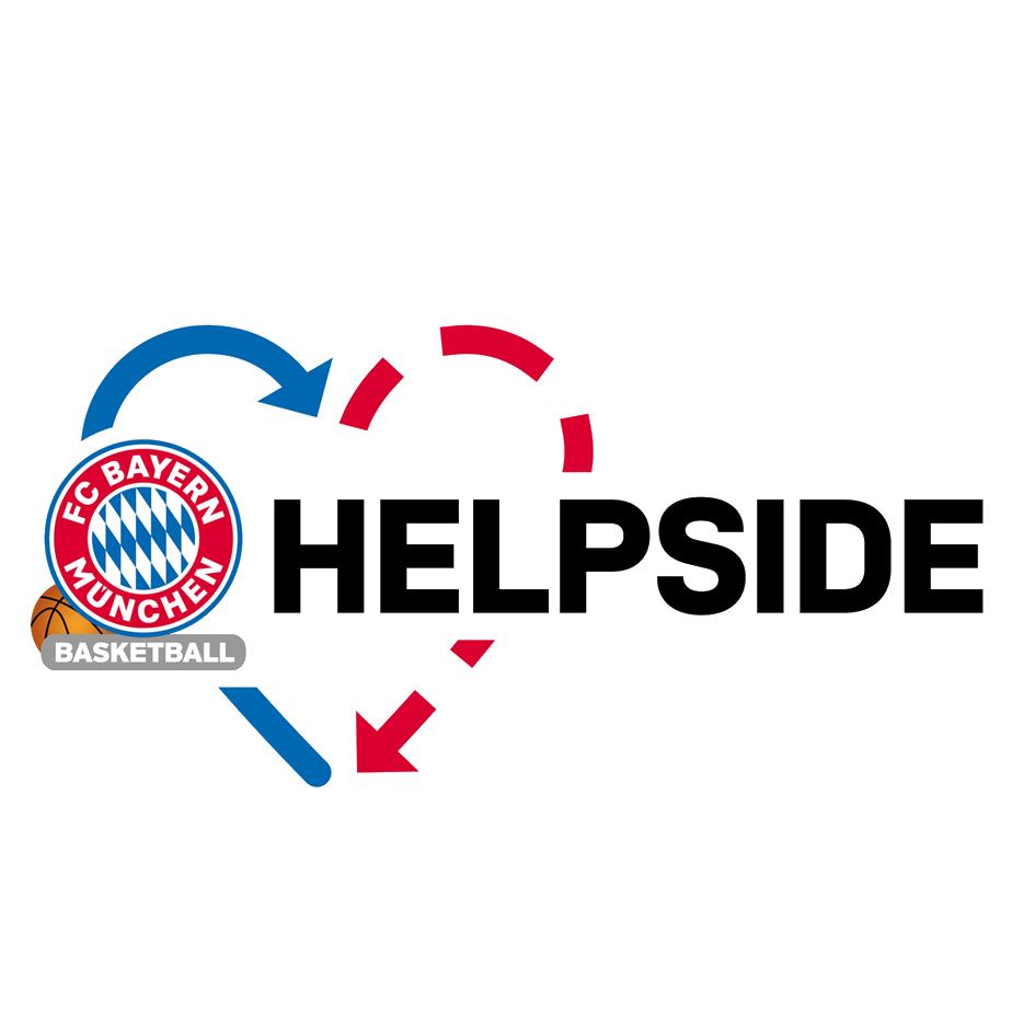 Logo FC Bayern Basketball, FCB Helpside, DEIN MÜNCHEN, Spenden, helfen, Jugendliche, Kinder, Engagement, soziales, Bildung, benachteiligt, CSR, Unternehmen, unterstützen, Mut auf Zukunft, Mut, Teilhabe, Gesellschaft, Verantwortung, Nachhaltigkeit, München, NO LIMITS, faire Startbedingungen, Chancen, Perspektiven